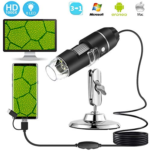USB Microscope,Digital Microscope,3MP 1000x Magnification 3 in 1Microscope Camera with Adjustable Stand 8 PCS LED Light for Mac Windows Computer Android Phones by SOONHUA