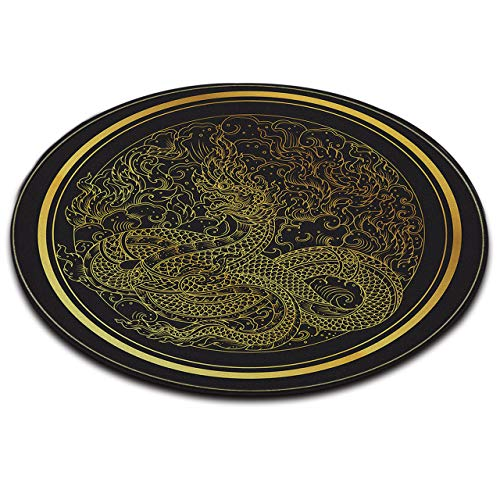 LB Chinese Style Dragon Area Rug Black Gold Print Round Memory Foam Rugs Luxury Area Rugs for Living Room Non Slip Bedroom Carpet Home Decor 2' Diameter