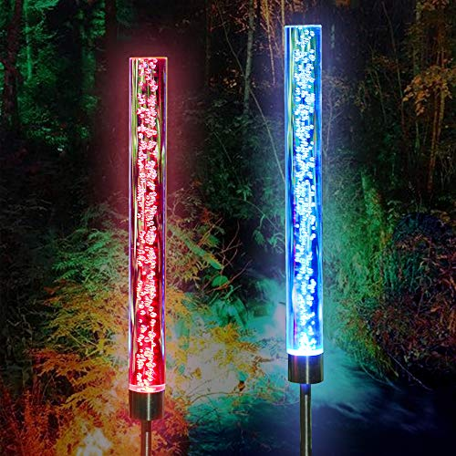 Solar Lights Outdoor - New Upgraded Garden Decor Acrylic Bubble Lights, Multi-Color Changing Solar Powered Garden Stake Lights for Patio, Pathway, Yard Decoration, Longer Working Time (2 - Light Stick Garden