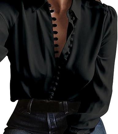 ❤️ Camisas con Botón Mujer, Modaworld Camisa de Solapa de Manga Larga Blusa sólida Ocasional de Las Mujeres Camisetas Blusa Tops Elegantes de Fiesta Crop Tops niña: Amazon.es: Ropa y accesorios