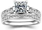 TEMEGO 14k White Gold Silver Cubic Zirconia Princess Cut Bridal Sets Wedding Rings,Size 8
