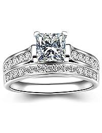 14K Silver Cubic Zirconia Princess Cut Bridal Sets Wedding Rings,CZ Halo Half Eternity Band Ring, Size 5-11