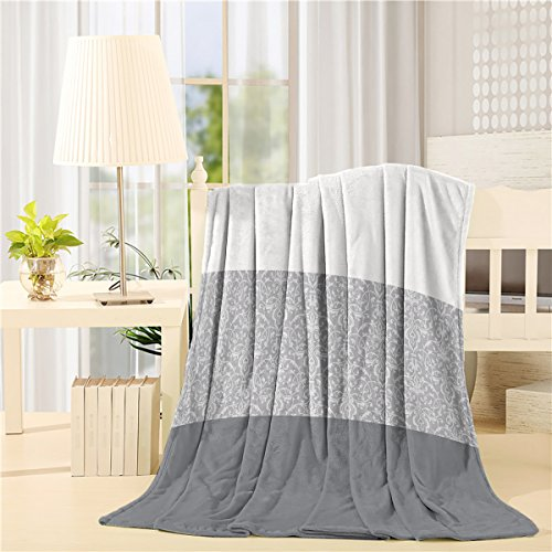 Luxury Chateau Blanket - Cloud Dream Flannel Luxury Blanket -Home Chateau Striped,Gray- 60