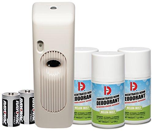 Big D 852 Metered Aerosol Starter Kit, Melon Mist Fragrance (Contains Dispenser, 2 Batteries, 3 Aerosol Cans) - Air freshener Ideal for restrooms, Offices, Schools, Restaurants, Hotels, Stores