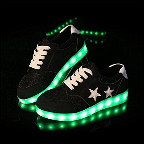 (Present:kleines Handtuch)JUNGLEST star bunt LED Leuchtend Aufladen USB Erwachsene Paare Schuhe Herbst und Winter Sport schuhe Freizeitschuhe Leucht la Schwarz