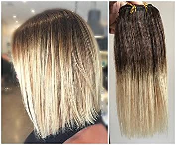 Devalook Hair Extensions 10 Inches Medium Brown To Light Blonde 10 Inches Short Straight Full Head 100 Real Clip In Human Hair Extensions Ombre Hairpieces 80grams Medium Brown To Light Blonde Amazon In Beauty