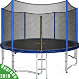 3rd Anniversary Sale! Zupapa TUV Approved 12 FT Round Trampoline Combo Set with Safety Enclosure and Pole & Ladder & Jumping Mat & Spring pad & Pull T-hook