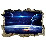 Dnven (27'w x 19'h) Planets Space Clouds Sun Porthole Window Milky Way Galaxy 3d Window View Wall Arts Decals Decors Removable Stickers Galaxy Space Planet