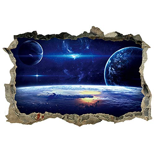DNVEN 27 inches x 19 inches Planets Space Clouds Sun Porthole Window Milky Way Galaxy 3D Window View Wall Arts Decals Decors Removable Stickers Galaxy Space Planet (3d Planets Glow In The Dark Instructions)