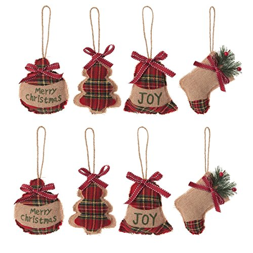 Christmas Tree Ornaments Stocking Decorations - 8pcs Christmas Stocking Ball Tree Bell Holiday Party Decor (Plaid Christmas Ornaments)
