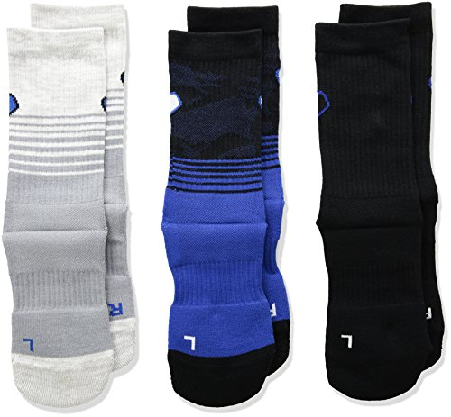 (Under Armour Phenom 2.0 Crew Sock - 3-Pack Blue Marker/Asst, Youth Large)