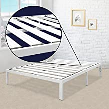 "Best Price Mattress Bed Frame 14"" Metal Platform [Model E] w/Steel Slat Support (No Box Spring Needed), Full Size, White"