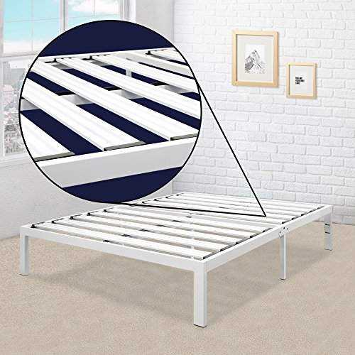 Best Price Mattress Model E Heavy Duty Steel Slat Platform Bed White,...