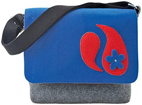 Sunsa Damen Filztasche Messengertasche Umhängetasche grau blau 35x30x7cm