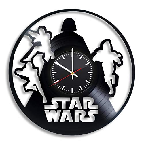 Star Wars Darth Vader Vinyl Record Clock 12'' Wall Art Home Room Kitchen Bedroom Decor Handmade Decoration Party Supplies Theme Original Gift for Him Her Vintage Artwork