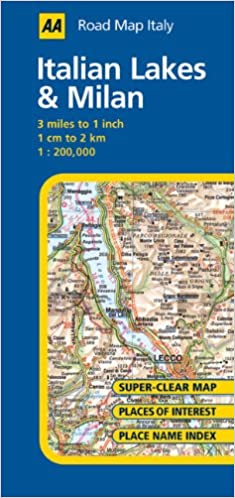 AA Road Map Italy Italian Lakes Milan AA Publishing - Clear map of italy