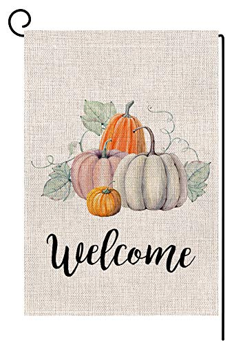 Fall Pumpkin Welcome Small Garden Flag Vertical Double Sided 12.5 x 18 Inch Autumn Burlap Yard Outdoor Decor