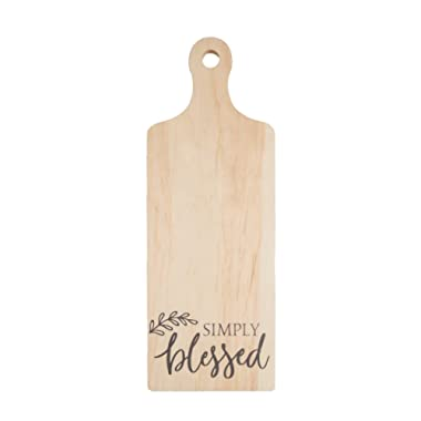 P. GRAHAM DUNN Simply Blessed Natural 5.5 x 15 Wood Decorative Bread Board Wall Plaque