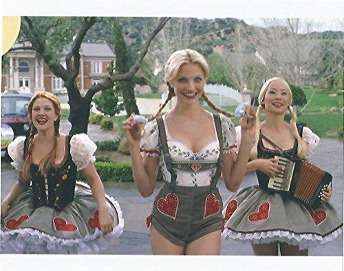 Charlie's Angels Lucy Liu, Cameron Diaz, Drew Barrymore wearing Lederhosen in blonde wigs - 8 x 10 Photo -