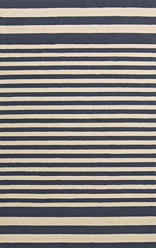 picture of Surya RAI1155-35 Hand Hooked Outdoor Accent Rug, 3 by 5-Feet, Navy/Beige