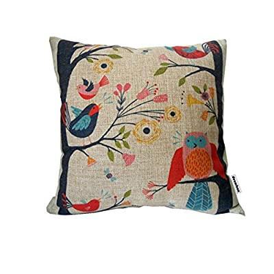 "Decorbox Retro Cotton Linen Square Throw Pillow Case Decorative Cushion Cover Pillowcase Cute Birds on Tree 18 ""X18 """