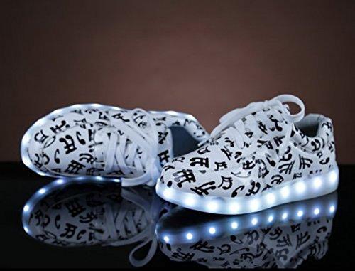 (Present:kleines Handtuch)JUNGLEST 7 Farbe USB Aufladen LED Leuchtend Sport Schuhe Sportschuhe Sneaker Turnschuhe für Unisex-Erwa Weiß