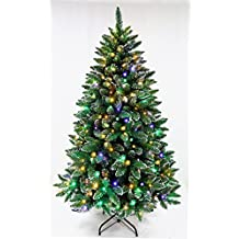 Christmas tree/Prelit Dual color LED Christmas tree/The Fiesta Pine full shape artificial Christmas tree with Dual color warm white & multicolor LED lights (6ft)