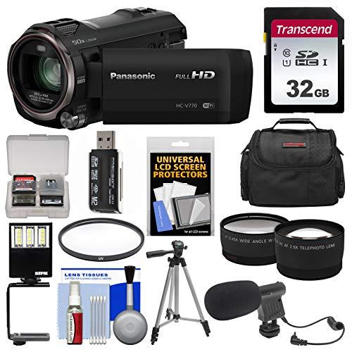 Panasonic HC-V770 Wireless Smartphone Twin Wi-Fi HD Video Camera Camcorder + 32GB Card + Case + LED Light + Microphone + Tripod + Tele/Wide Lens (Panasonic Smart Card Reader)