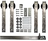Double Sliding Barn Door Hardware Kit with 6 Ft. Track Included - Made in USA