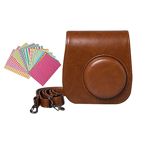 Anntic lovely Instax Mini 8/ 8+/ 9 Case PU Leather for Fujifilm Instax Mini 9 / Mini 8 / Mini 8+ Instant Film Camera with Strap and 20 PCS Stickers - Brown ()