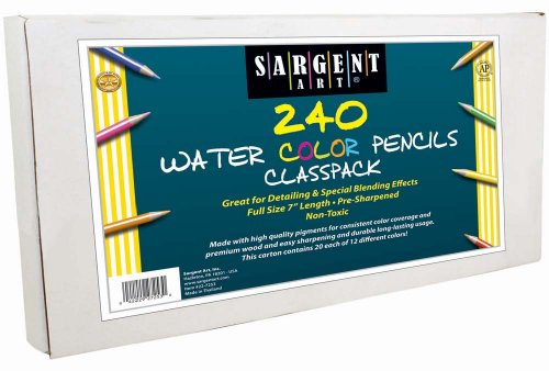 Sargent Art 240-Count Watercolor Pencil Class Pack, Best Buy Assortment, 22-7253 -  SAR227253