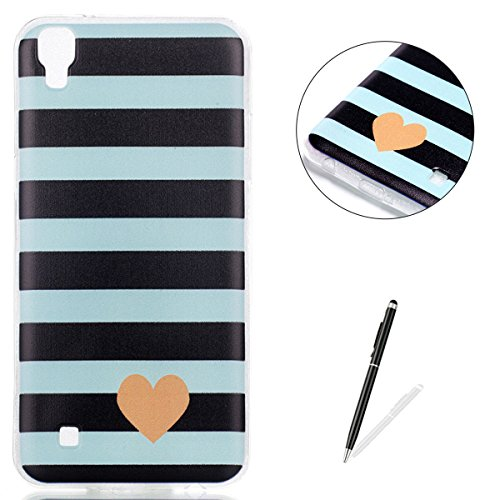 (KaseHom LG Xpower Silicone Case, LG Xpower Soft Slim TPU Cover + [Free Touch Stylus Pen] Stylish Painted Design Anti-Scrach Jelly Gel Protection Bumper Shell - Stripe)