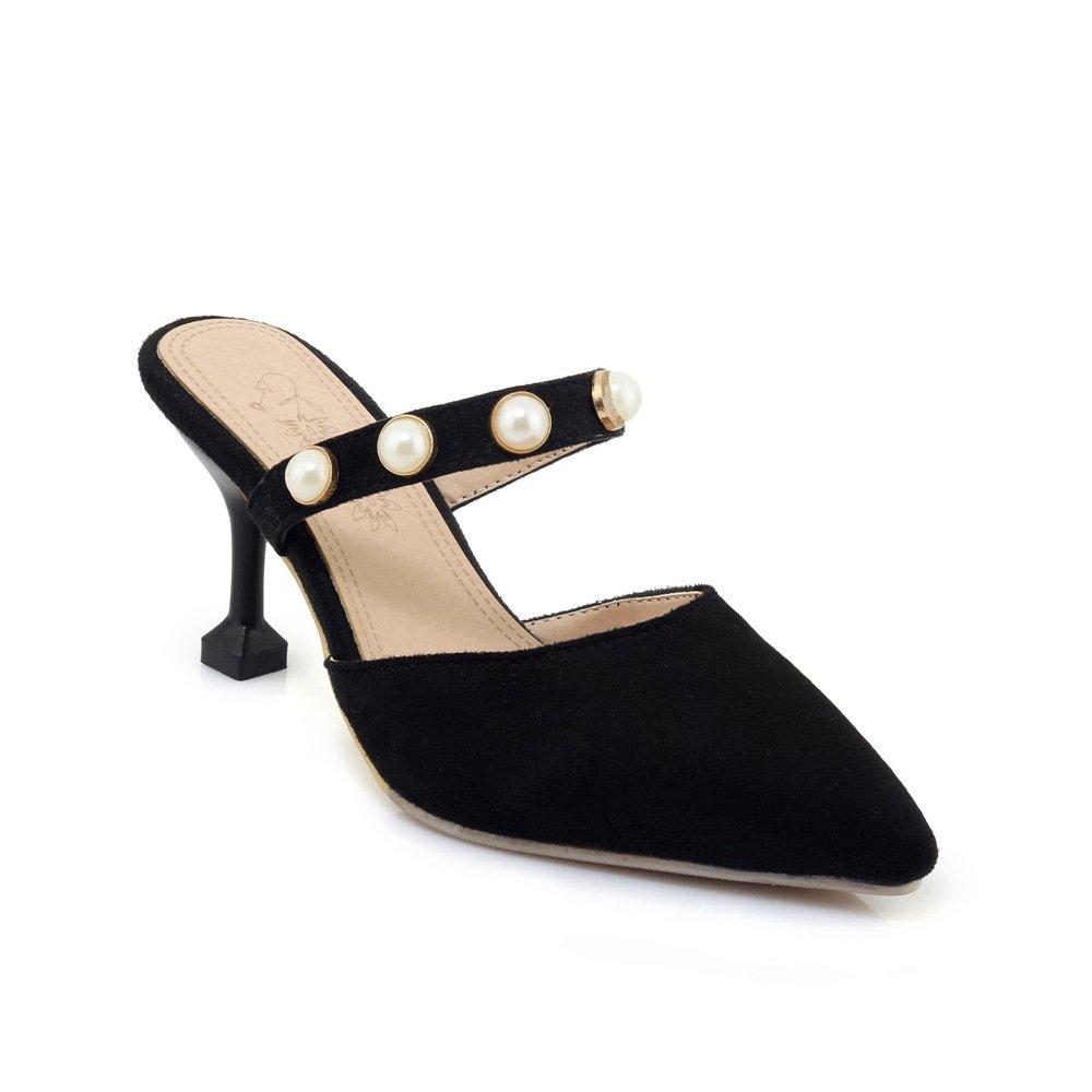 Damen Sandalen Spitzen Flachen Mund Fein mit mit mit Mode Wild Flip Flop Schwarz 43 1a666c