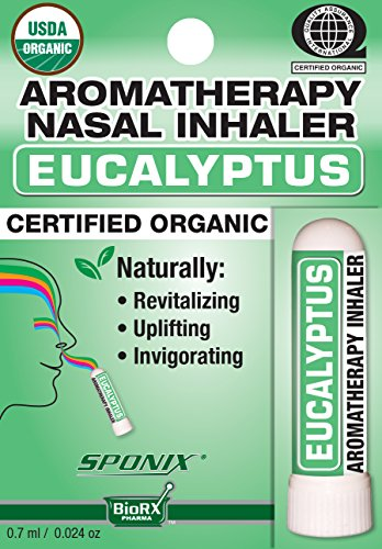 Best Organic Aromatherapy Eucalyptus Nasal Inhaler - Made with 100% Organic Essential Oils - 0.7 ml by Sponix