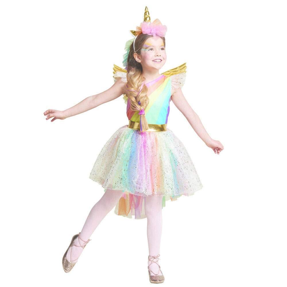 Attractive Amazon.com: Cool Lemon Unique Girlsu0027 Deluxe Rainbow Unicorn Costume  Halloween Cosplay Dress Up Halloween: Clothing