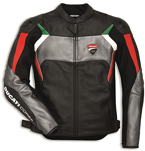(Ducati Corse C3 Perforated Leather Jacket By Dainese Black Red Grey Size 54 )