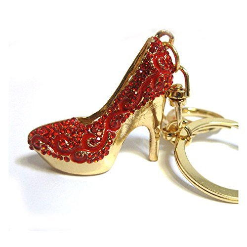 - Bling Car Decor Rhinestone Bling High Heel Shoe Keychain, Ladies Fashion Crystal Stiletto Bag Key Chain & Purse Charm (Red)