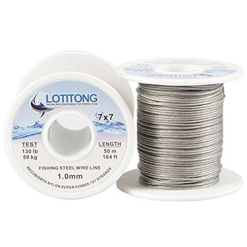 - LOTITONG 50M 130LB Fishing Steel Wire line 1.0mm Wire Diameter 7x7 49 Strands Trace Coating Wire Leader Coating Jigging Wire Lead Fish Jigging Line Fishing Wire Stainless Steel Leader Wire