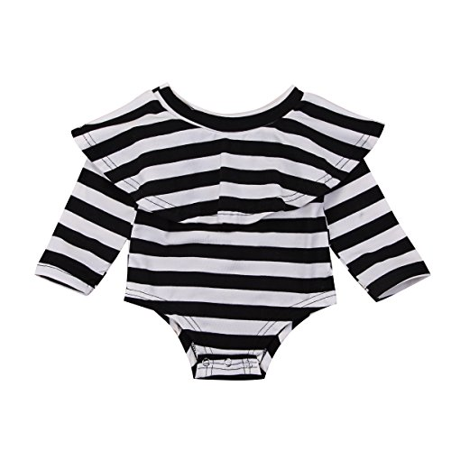 Mornbaby Infant Baby Girl Romper Twins Long Sleeve Jumpsuit Off-Shoulder Ruffled Newborn Bodysuit Outfit Clothes(Strip, 0-6M)