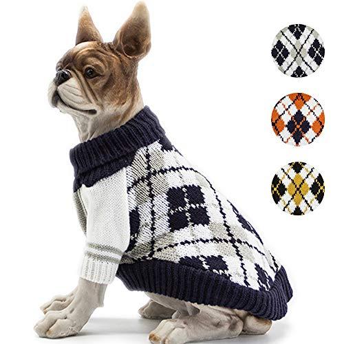 BOBIBI Dog Sweater of The Diamond Plaid Pet Cat Winter Knitwear Warm Clothes,Navy,Small