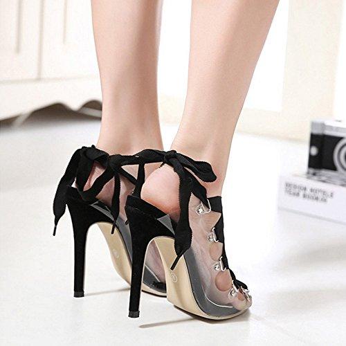 Sandalias de de GAOLIXIA Transparentes Primavera Zapatos mujer Sandalias Verano Partido Zapatos Transparentes PVC Transparente Discoteca Zapatos Correa Black mujer vZqFqdw