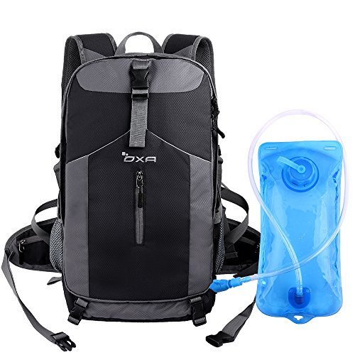 OXA 40L Hydration Backpack, Daypack Perfect for Camping, Hiking, Running, Cycling, Biking, Climbing, Hunting, Traveland Outdoor Activities,2 L Water Bladder Included, Sewn-in Rain Cover (Black)