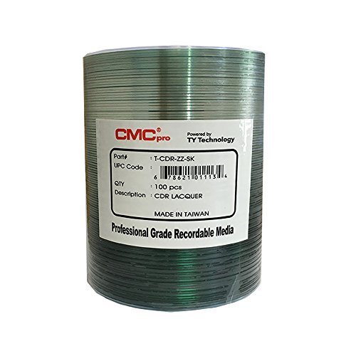 CMC Pro - Powered by TY Technology 48x 700 MB / 80 Min Shiny Silver CD-R Clear Hub 100 Disc Tape Wrap by CMC Pro - Taiyo Yuden