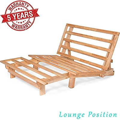 Futon Bed Sofa - (Natural Hardwood Frame and Mattress Set), Armless Convertible, Couch, Bed, Lounger