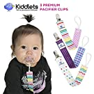 Kiddlets Pacifier Clip GIRLS 3 Pack - Pacifier Holder, Best Shower Gift