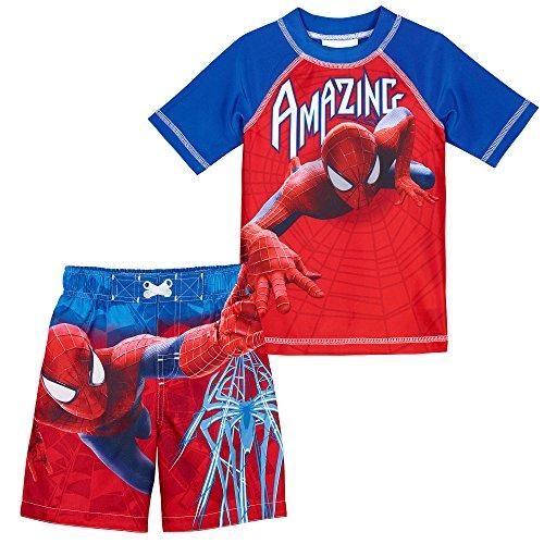 Superhero Little Boys' 2 Piece UPF 50 Rashguard Swim Trunk Set, Spiderman, 4T