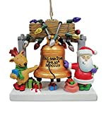 Santa and Reindeer at Liberty Bell Resin Christmas Holiday Ornament Cape Shore
