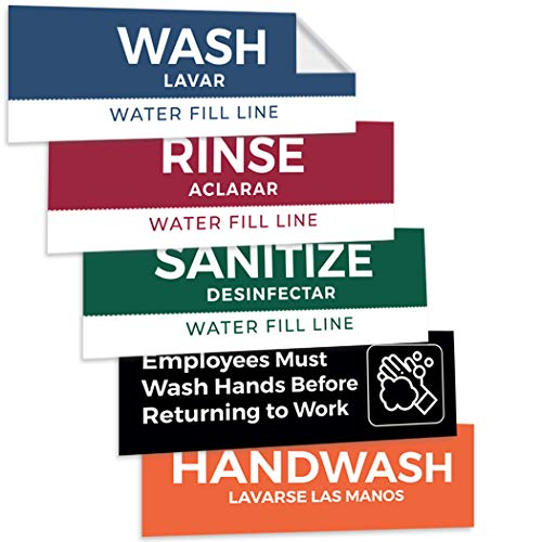 Pixelverse Design - Wash Rinse Sanitize Handwash Stickers - Great for Restaurants, Commercial Kitchens, 3 Sink Compartments - 3x9 Inches - 5 Pack Set - Includes Bonus Employee Must Wash Hands (Best Truck Commercial Ever)