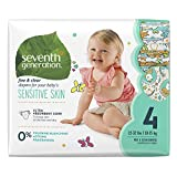Seventh Generation Free and Clear Sensitive Skin Baby Diapers with Animal Prints, Size 4, 108 Count