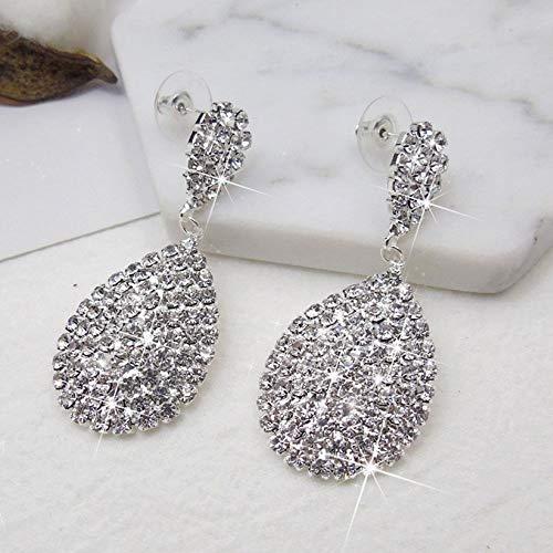 Shining Jewelry Rhinestone Stud Earring Anti Allergy Water Drop Earrings